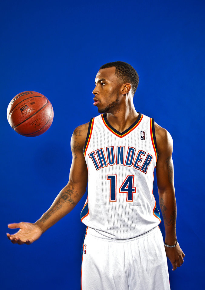 Photo - DAEQUAN COOK poses for a photo during the Oklahoma City Thunder media day on Monday, Sept. 27, 2010, in Oklahoma City, Okla.   Photo by Chris Landsberger, The Oklahoman