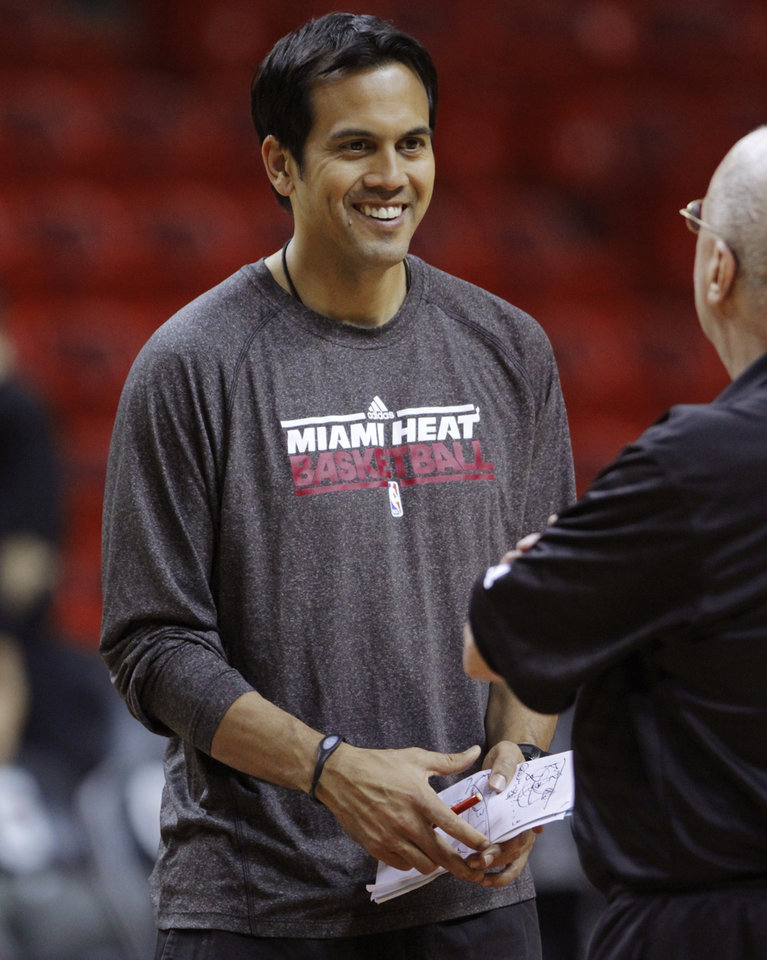 Miami coach Erik Spoelstra smiles a during practice before Game 4 of the NBA Finals between the Oklahoma City Thunder and the Miami Heat at American Airlines Arena, Monday, June 18, 2012. Photo by Bryan Terry, The Oklahoman
