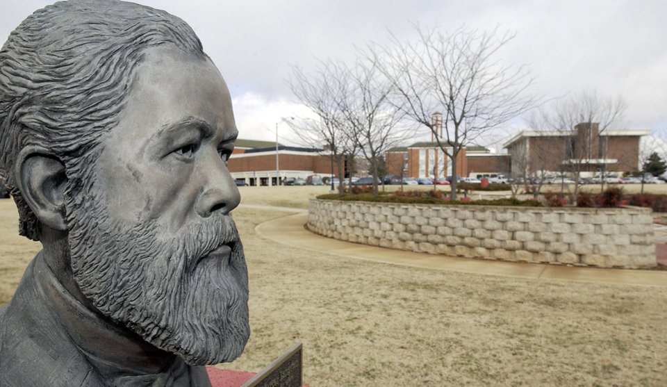 Photo - Statue of John Mercer Langston, the black statesman for whom the town and university are named. The statue is on the Langston University campus.Photo by David McDaniel, The Oklahoman Archives