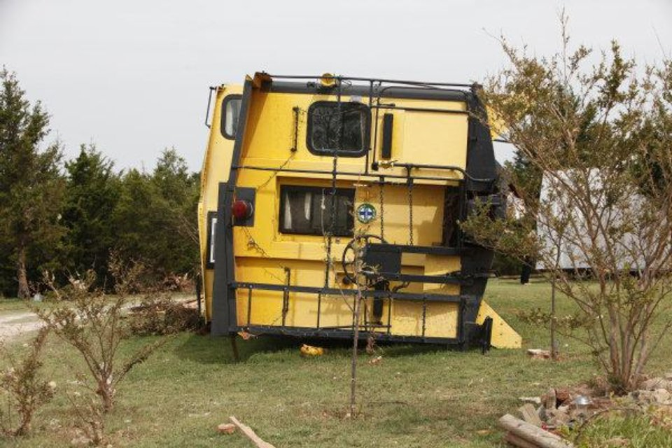 : Debbie Morris\' Red Rooster Guest Cabooses and Inn sustained major damage from the May 24 tornado in Canadian County Steve Gooch - THE OKLAHOMAN