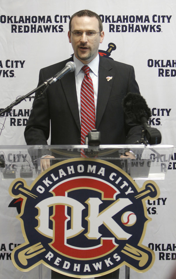 RedHawks President and General Manager Michael Byrnes talks during the press conference to announce the new name for the ballpark. Newcastle Field at Bricktown where the Redhawks will play their home games Wednesday, April 4, 2012. Photo by Doug Hoke, The Oklahoman