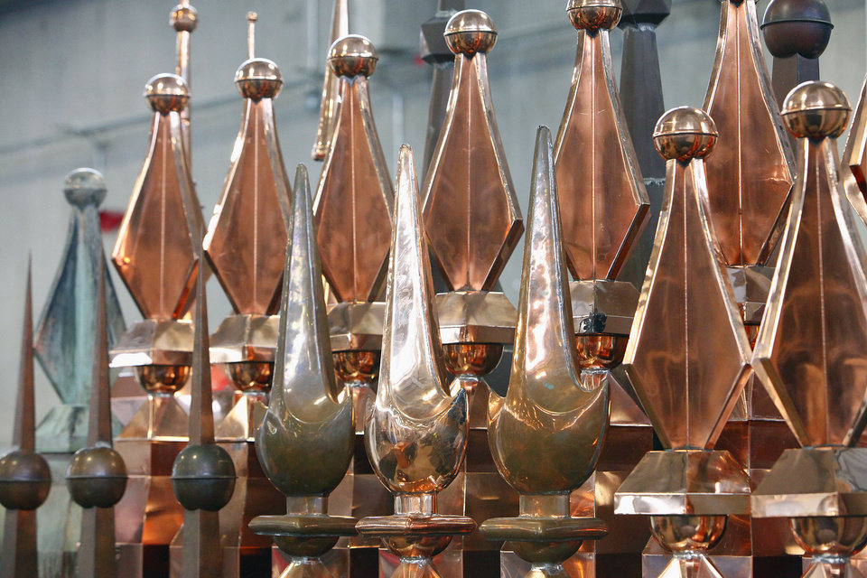 Copper finials from Custom Copper in Newalla were among the displays people could find at last year's OKC Home Show, which is returning to State Fair Park this weekend. PHOTO BY DAVID MCDANIEL, THE OKLAHOMAN. <strong>David McDaniel</strong>