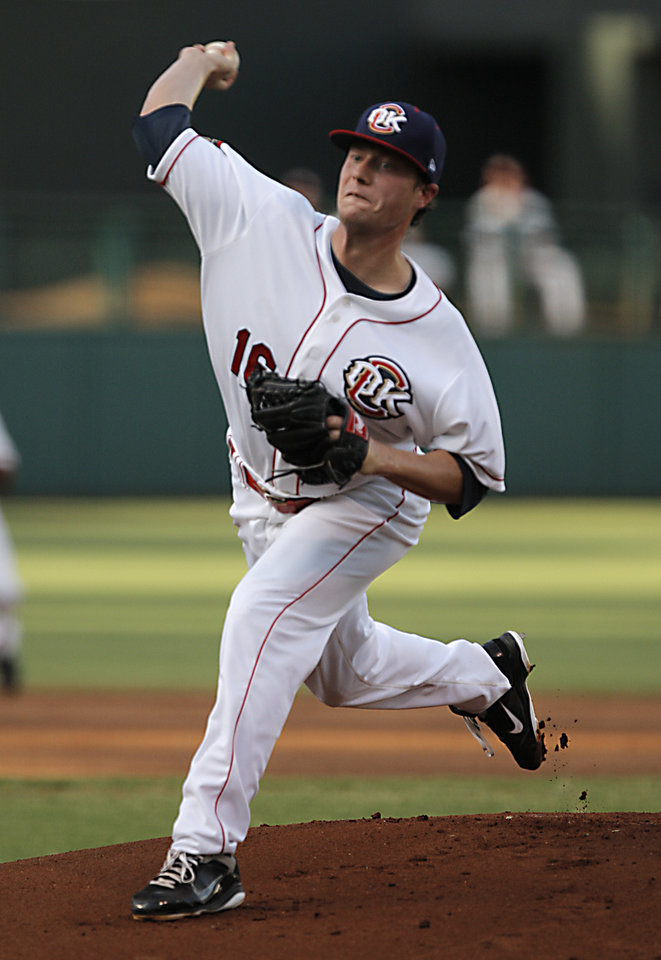 Lucas Harrell (16) pitches during a game between the Oklahoma City Redhawks and the Nashville Sounds in Oklahoma City, Wednesday, July 27, 2011.  Photo by Garett Fisbeck, The Oklahoman ORG XMIT: KOD