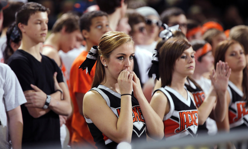 Photo - Fairview fans look on during the state high school basketball tournament Class 2A girls semifinal game between Fairview High School and Northeast High School at the State Fair Arena on Friday, March 8, 2013, in Oklahoma City, Okla. Photo by Chris Landsberger, The Oklahoman