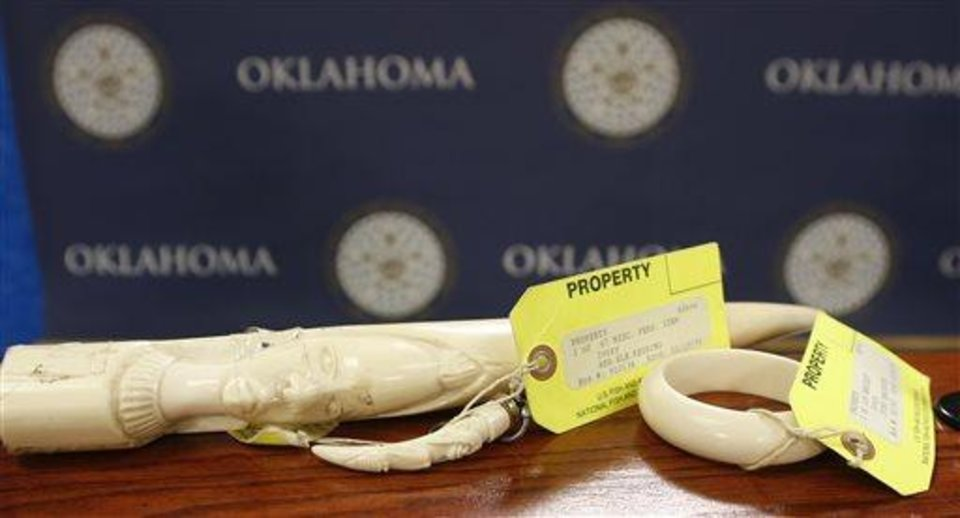 Photo -  Pieces of carved ivory are on display Tuesday at the state Capitol in Oklahoma City. A news conference was held by Democratic state Rep. Mike Shelton, who is sponsoring a bill that he says is designed to help curb illegal poaching of wildlife in Africa, where several species are threatened because of the black market ivory trade. AP Photo   Sue Ogrocki -  AP