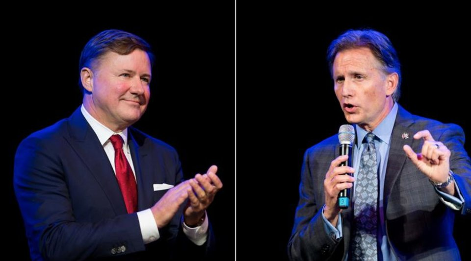 Photo - From left: Candidate Gentner Drummond and Oklahoma Attorney General Mike Hunter