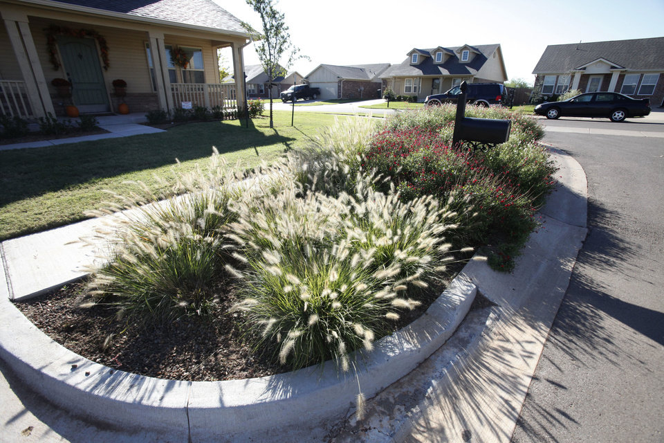 Special landscaping provides a natural system for stormwater runoff filtration in the Trail Woods addition by Ideal Homes in Norman. Photos by Paul Hellstern, The Oklahoman