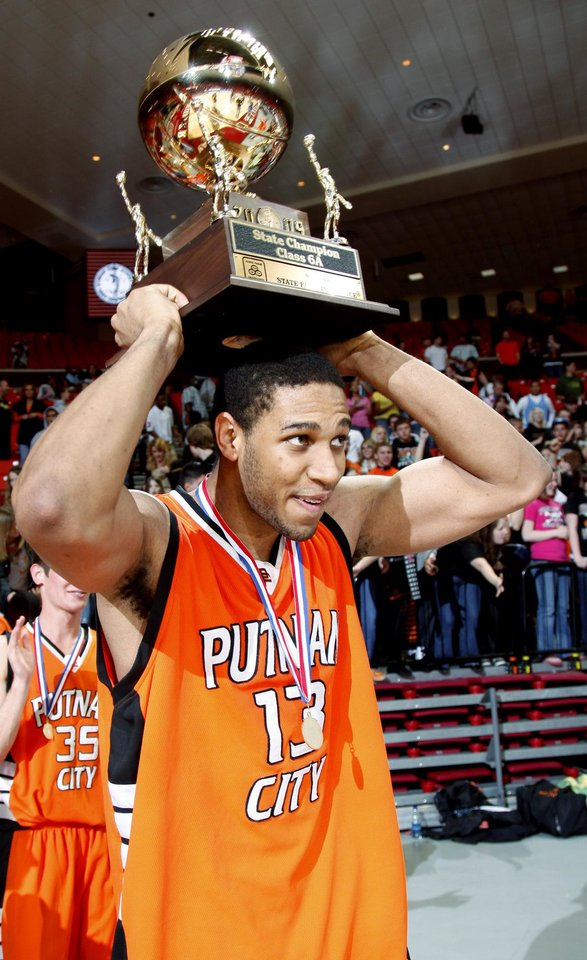 Putnam City's Xavier Henry celebrates after winning the Class 6A boys championship game between Putnam City and Jenks in the Oklahoma High School Basketball Championships at Lloyd Noble Arena in Norman, Okla., Saturday, March 14, 2009. PHOTO BY BRYAN TERRY, THE OKLAHOMAN