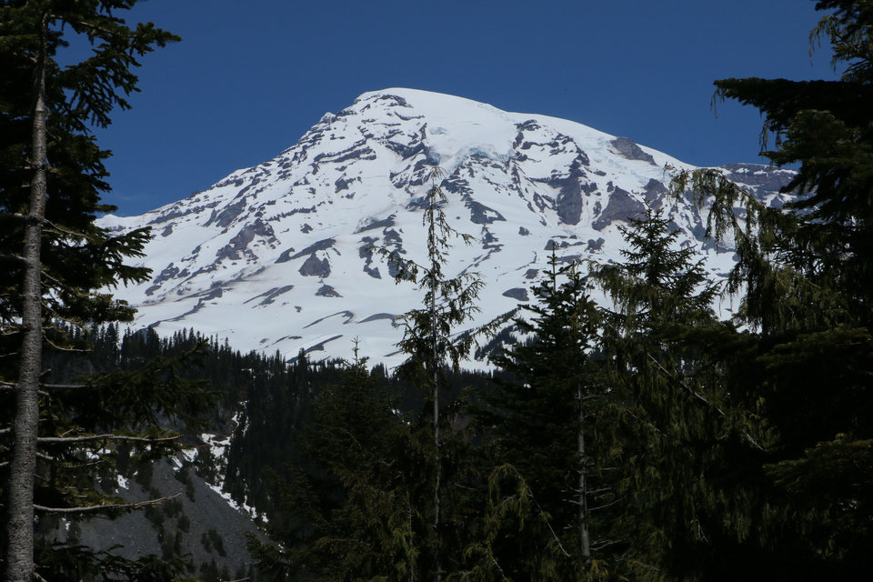 Photo - Mount Rainier is seen in the distance from a viewpoint within Mount Rainier National Park on Sunday, June 1, 2014. Park officials said that there are no immediate plans to recover the bodies of six climbers who likely fell thousands of feet to their deaths in the worst alpine accident on the mountain in decades.(AP Photo/Rachel La Corte)