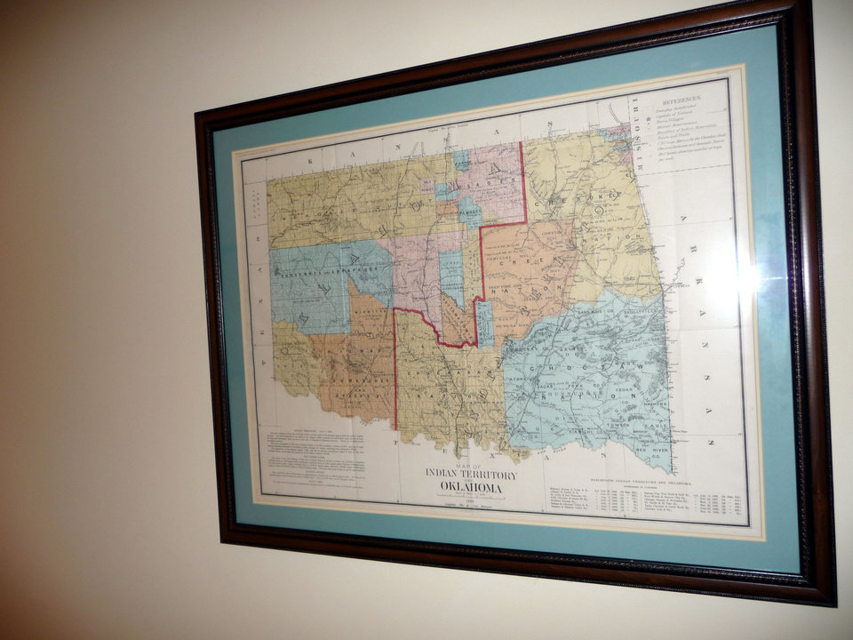 A map showing the state\'s Indian Territory is shown in a hallway leading to Andy Lester\'s office. PHOTO BY KEVAN GOFF-PARKER Picasa