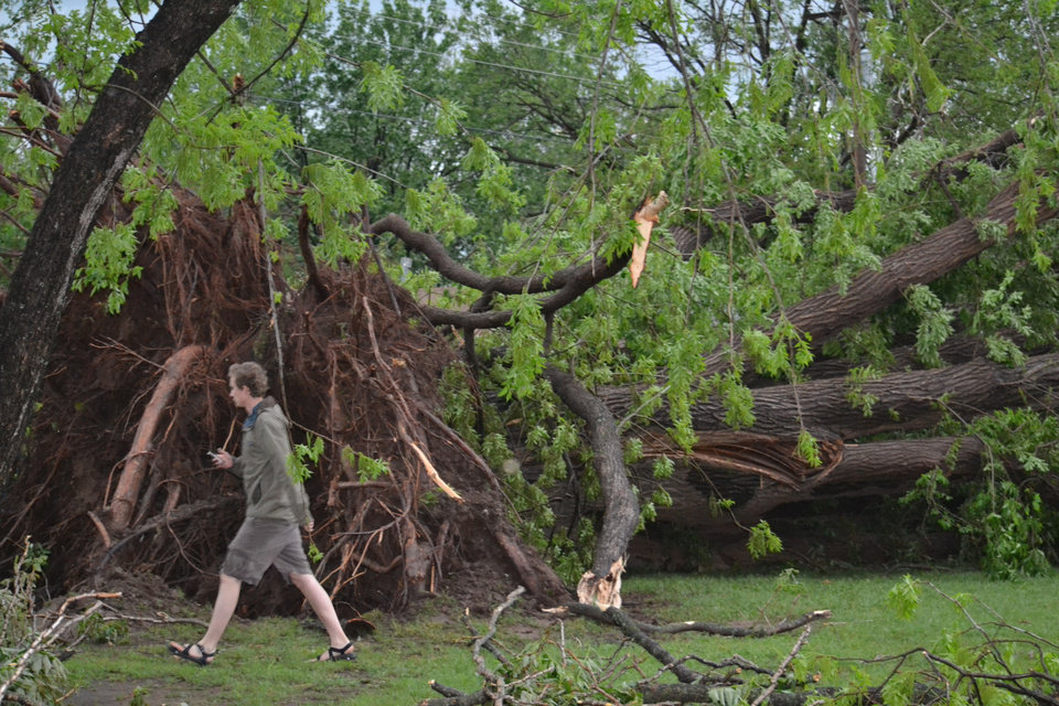 Damage at Rotary Park 1501 W. Boyd St. in Norman on April 13, 2012. Photo by Carmen Forman.