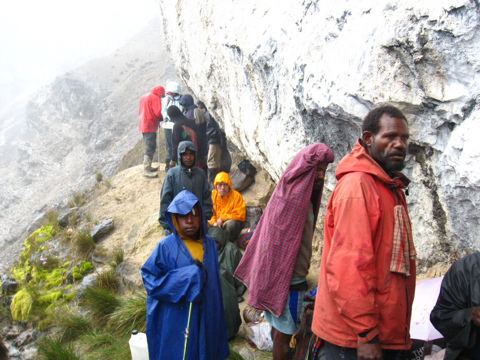 The Dillards were joined by 18 porters in their trek to Carstensz Pyramid. <strong>provided</strong>
