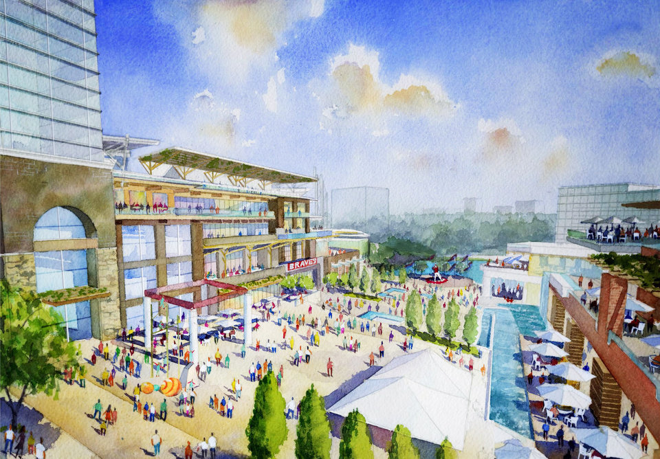 Photo - This artist rendering provided by the Atlanta Braves shows the team's proposed new ballpark and mixed-use development design in Cobb County,  including the plaza outside the stadium.  (AP Photo/Atlanta Braves)