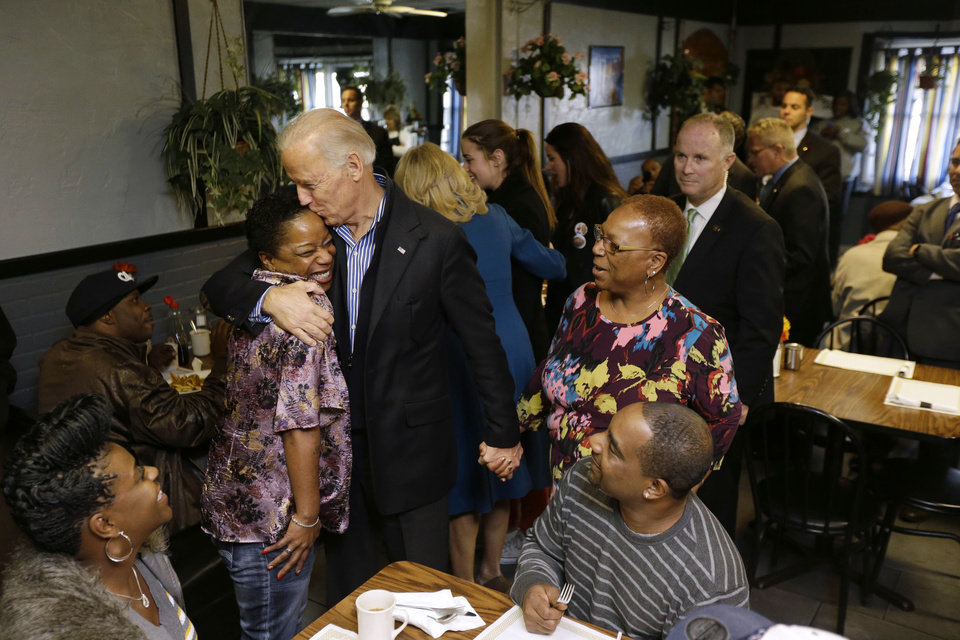 Vice President Joe Biden meets with patrons during a visit to the Landmark Restaurant, Tuesday, Nov. 6, 2012, in Cleveland, Ohio. (AP Photo/Matt Rourke)