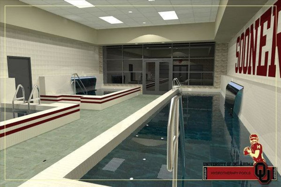 Photo - Artist rendering of hydro therapy pools that are part of Phase IV of the renovation of Gaylord Family - Oklahoma Memorial Stadium. PHOTO PROVIDED