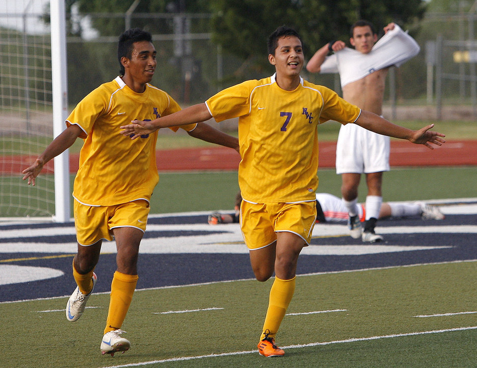 Northwest Classen's Juan Campos (7) celebrates  his winning goal during the boys 5A soccer state championship game between Northwest Classen and Cascia Hall at Edmond North High School in Edmond, Okla., Saturday, May 12, 2012. Photo by Sarah Phipps, The Oklahoman
