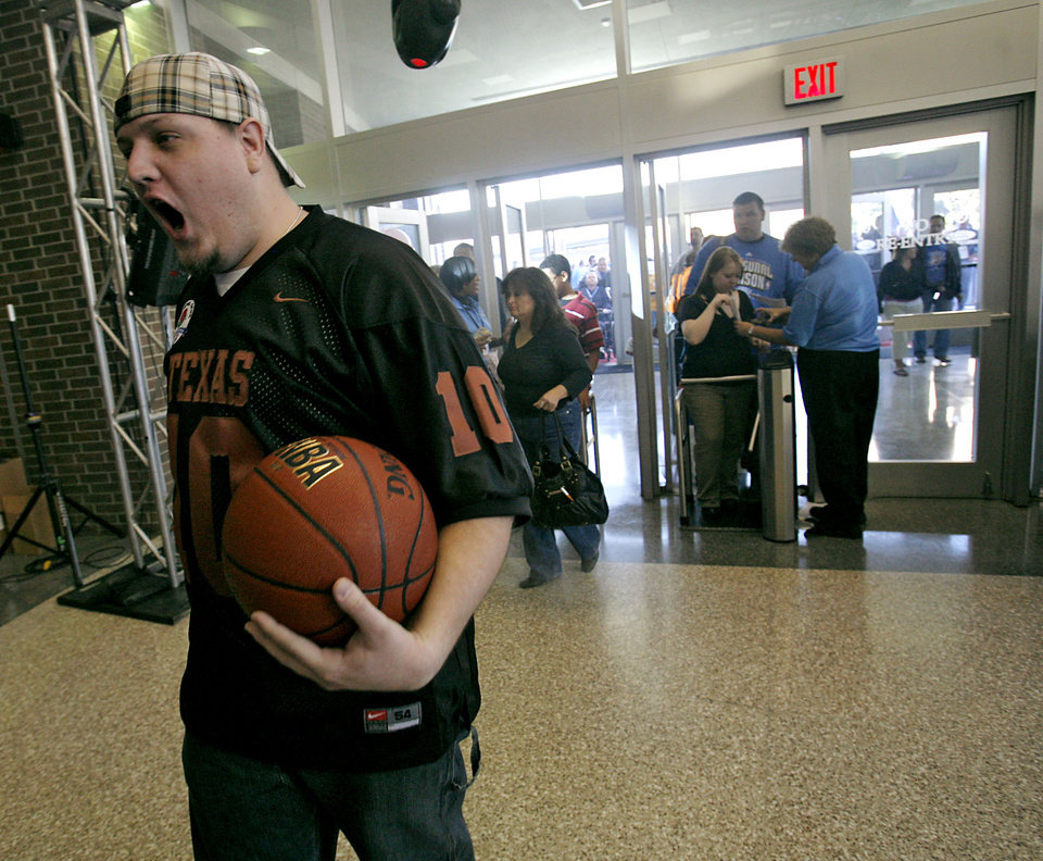 OKLAHOMA CITY THUNDER / NBA BASKETBALL TEAM / REGULAR SEASON OPENING NIGHT: Justin Wright reacts as he gets into the Ford Center before the first Oklahoma City Thunder game in downtown Oklahoma City on Wednesday, October 29, 2008. By John Clanton, The Oklahoman  ORG XMIT: KOD
