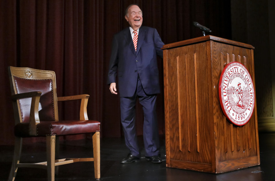 Photo - University of Oklahoma president David Boren laughs as he leaves the podium after announcing his retirement at a press conference in Norman, Okla. on Wednesday, Sept. 20, 2017.  Photo by Chris Landsberger, The Oklahoman