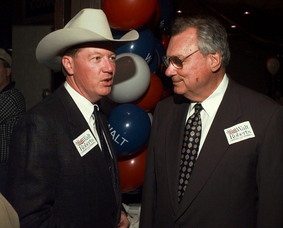 Photo - U.S. 3rd District congressional candidate Walt Roberts chats with his mentor Gene Stipe at election watch party.