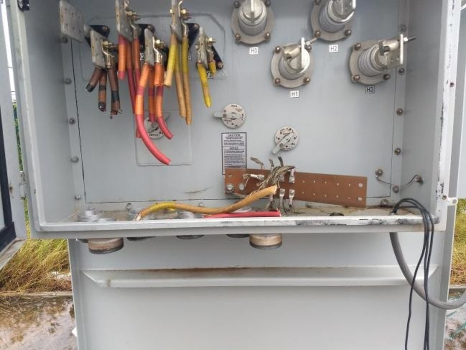 Photo -  Another piece of eqipment at a well site in Oklahoma City that was robbed of its copper wiring is shown. [PROVIDED BY OKLAHOMA CITY POLICE DEPARTMENT]