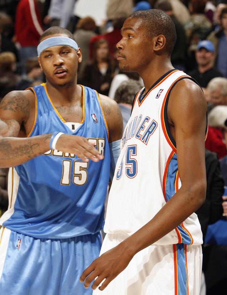 Carmelo Anthony greets Kevin Durant after the game as the Oklahoma City Thunder play the Denver Nuggets at the Ford Center in Oklahoma City, Okla. on Friday, January 2, 2009. Durant scored a go ahead basket with seconds left and Anthony scored a winning three pointer as time ran out. Photo by Steve Sisney/The Oklahoman