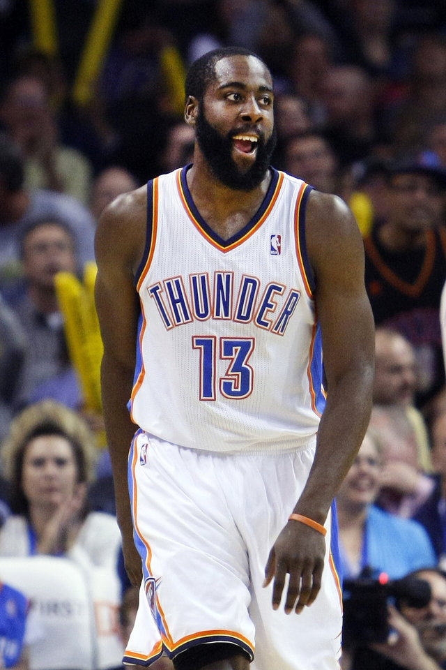 James Harden has scored in double digits in each of the past 12 games. Photo by Hugh Scott, The Oklahoman