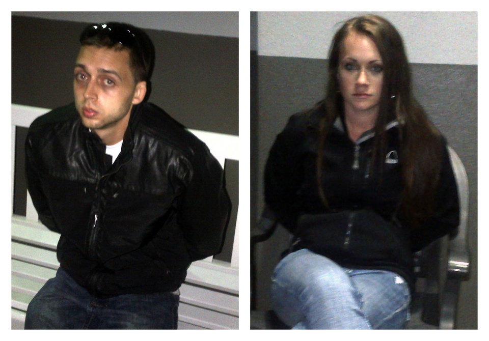 This combo image made of photos provided by the U.S. Marshals Service shows Roland Dow, left, and Jessica Linscott. The couple, who are suspected of abusing the woman's 3-year-old son, were taken into custody on Wednesday, Nov. 28, 2012, at Universal Studios, where they had been watching the parade, U.S. marshals said. Linscott and Dow were wanted in connection with injuries to Linscott's son, including burns and significant head injuries. (AP Photo/ U.S. Marshals Service)