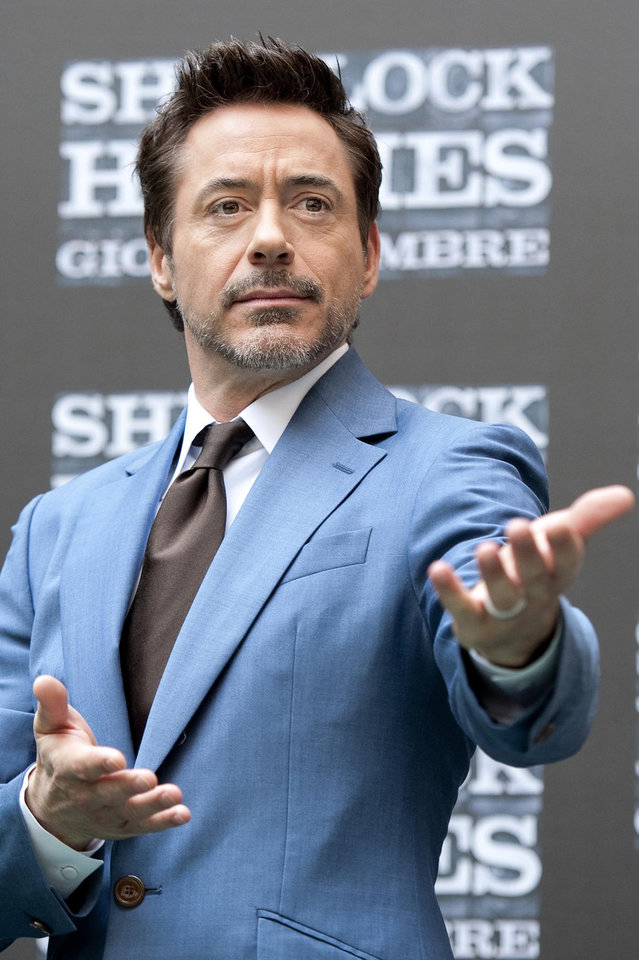 "U.S. actor Robert Downey Jr. presents the movie ""Sherlock Holmes: A Game of Shadows"", in Rome, Sunday, Dec. 11, 2011. (AP Photo/Virginia Farneti, Lapresse)  ITALY OUT ORG XMIT: ROM801"