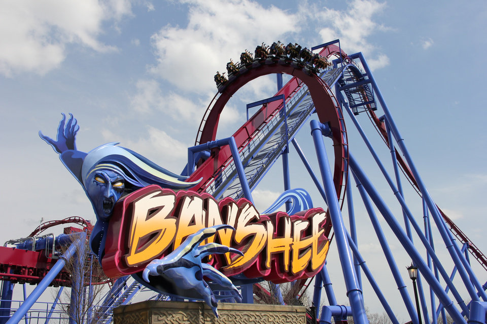 Photo - This undated image provided by Kings Island amusement park in Kings Island, Ohio, near Cincinnati, shows the recently opened Banshee roller coaster. It's named for a wailing mythological messenger from the underworld and includes a 167-foot lift hill and a 150-foot curved first drop. (AP Photo/Kings Island, Don Helbig)
