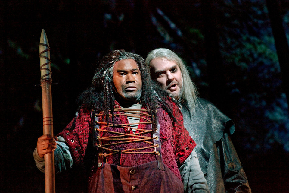 Photo -   This October 21, 2011 photo provided by the Metropolitan Opera shows Eric Owens, left, as Alberich and Bryn Terfel as the Wandererr in Wagner's