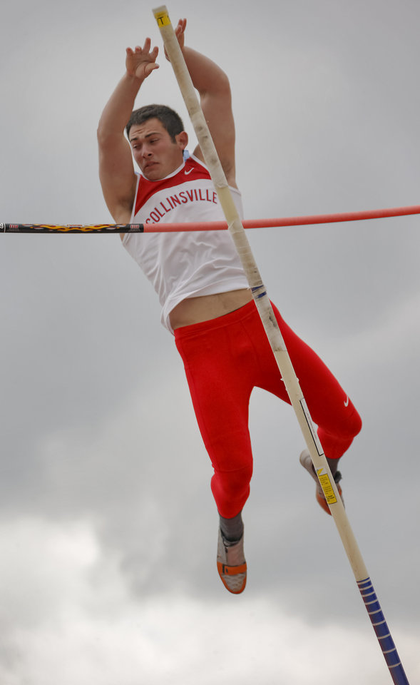 Photo - Collinsville's Jake Barton competes in the pole vault during the class 5A and 6A track state championships at Yukon High School on on Friday, May 10, 2013, in Yukon, Okla.Photo by Chris Landsberger, The Oklahoman