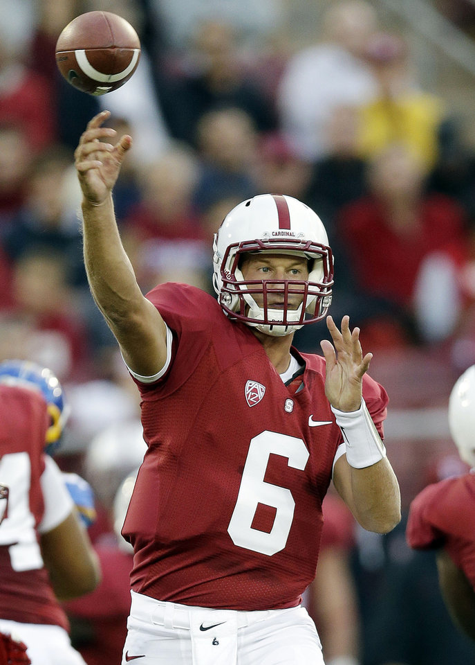 Photo -   FILE - In this Aug. 31, 2012, file photo, Stanford quarterback Josh Nunes (6) throws against the San Jose State during the first half of an NCAA college football game in Stanford, Calif. The last time Matt Barkley and Nunes played against each other was at the 2009 High School All-American Game. Things will be a little different for these quarterbacks Saturday night when Barkley and No. 2 Southern California face Nunes and No. 21 Stanford. (AP Photo/Marcio Jose Sanchez, File)
