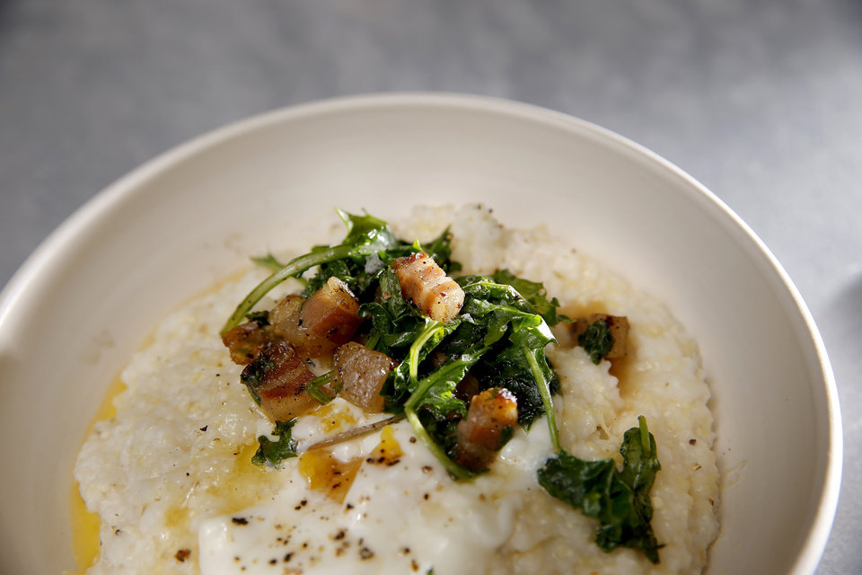 Photo -  Pancetta & Greens from The Kitchen at Commonplace Books in Oklahoma City. [Photo by Sarah Phipps, The Oklahoman]