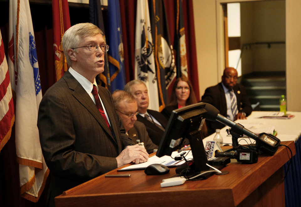 Photo -  Dr. Mark Huycke, chief of staff at the Oklahoma City VA Medical Center, discusses audit information released by the U.S. Department of Veterans Affairs during a news conference Tuesday at the Oklahoma City VA. Photo by Steve Gooch, The Oklahoman   Steve Gooch -  The Oklahoman
