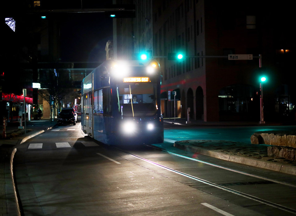 Photo - An Oklahoma City streetcar traveled south on Robinson Avenue. Transit officials added Sunday service on Feb. 10 and permanent funding for operating seven days per week is proposed for the 2019-20 budget. [Doug Hoke/The Oklahoman]