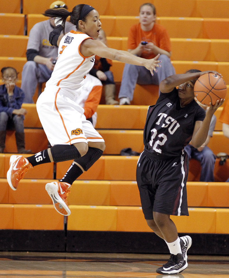 Oklahoma State 's Tiffany Bias (3) defends on Texas Southern 's Kayla West (32) during the women's college basketball game between Oklahoma State University and Texas Southern University on Saturday, Dec. 1, 2012, in Stillwater, Okla.   Photo by Chris Landsberger, The Oklahoman