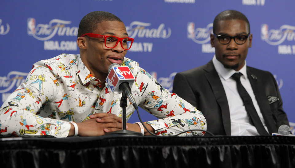 Oklahoma City's Russell Westbrook, left, and Kevin Durant answer questions during a press conference after Game 1 of the NBA Finals between the Oklahoma City Thunder and the Miami Heat at Chesapeake Energy Arena in Oklahoma City, Tuesday, June 12, 2012. Photo by Bryan Terry, The Oklahoman