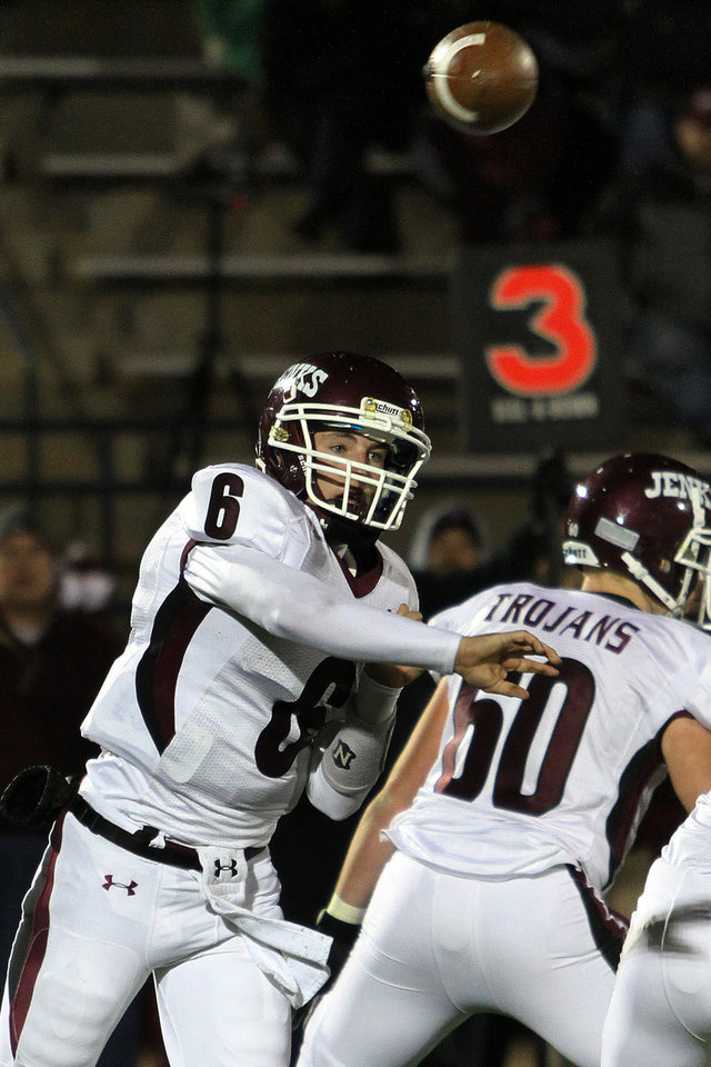 Photo - Jenks quarterback Hunter Collins throws a pass during the Edmond Santa Fe - Jenks game at UCO's Wantland Stadium in Edmond, Friday, November 18, 2011. PHOTO BY HUGH SCOTT, FOR THE OKLAHOMAN