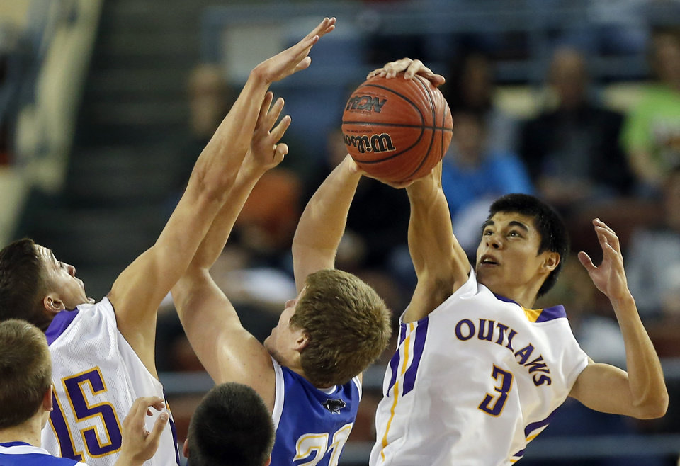 Photo - Weleetka's Shaun Bencoma, right, and Jackson Frye block the shot of Glencoe's Hunter Hall during the Class A boys state championship between Glencoe and Weleetka  at the State Fair Arena., Saturday, March 2, 2013. Photo by Sarah Phipps, The Oklahoman