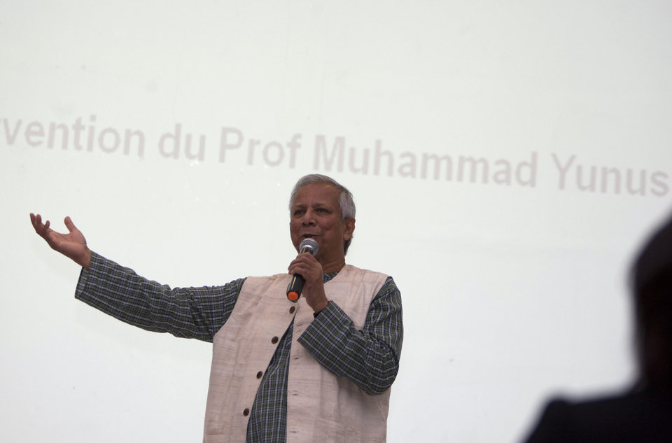 "Nobel peace laureate Mohammad Yunus speaks during a conference at the Montana Hotel in Port-au-Prince, Haiti, Saturday, Oct. 13, 2012. Yunus has announced that his pro-business development group is financing several endeavors through a mix of loans and equity. The projects that incorporate Yunus' development philosophy of ""social business"" include two poultry farms, a plantation of jatropha plants to be used for biodiesel, a bakery and a tilapia fish farm. (AP Photo/Dieu Nalio Chery)"