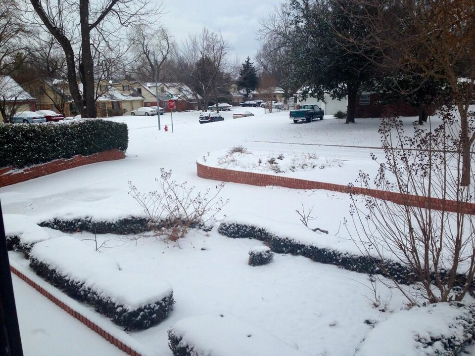 Photo - Snow in Norman - Photo via Shelby Hays on Twitter