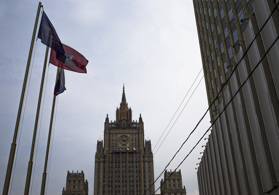 Photo -   The Russian Foreign Ministry headquarters seen at the background in Moscow on Thursday, Oct. 4, 2012. US prosecutors allege that naturalized U.S. citizen Alexander Fishenko and six others