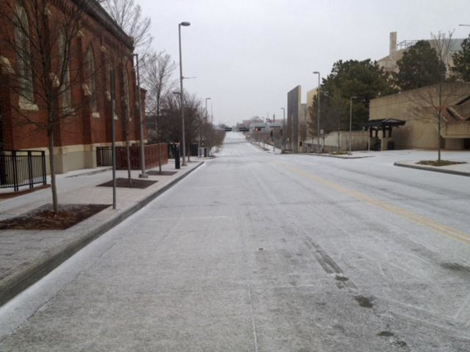 Photo - A downtown OKC street on Christmas morning