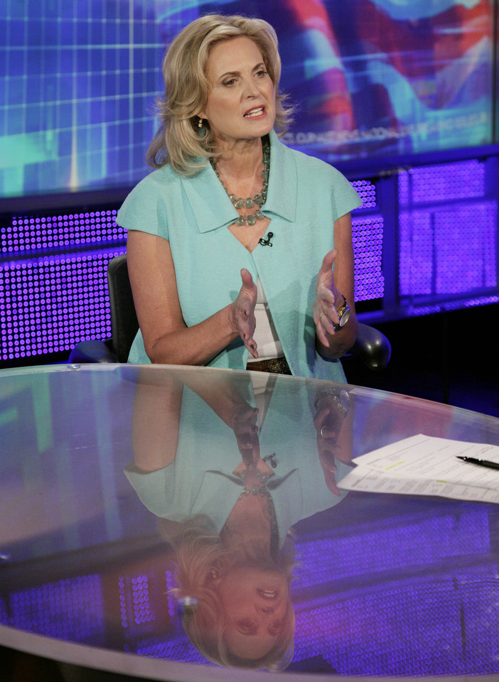 "Ann Romney, wife of Republican presidential candidate, former Massachusetts Gov. Mitt Romney, tapes an interview with Martha MacCallum, co-anchor of ""Americaís Newsroom"" in New York, Tuesday, Oct. 9, 2012, for broadcast Wednesday morning on the Fox News Channel program. (AP Photo/Richard Drew)"