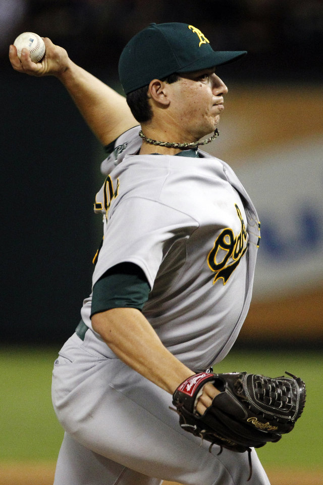 Photo -   Oakland Athletics starting pitcher Tommy Milone delivers to the Texas Rangers in the sixth inning of a baseball game, Tuesday, Sept. 25, 2012, in Arlington, Texas. (AP Photo/Tony Gutierrez)