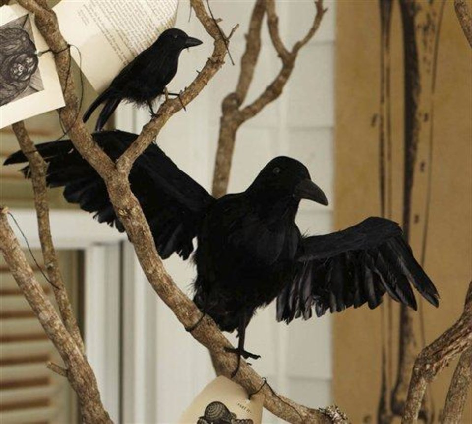 Photo - This product image released by Pottery Barn shows their black feathered crows. This season you'll find lots of ghoulish yet glamorous pieces to decorate with for Halloween.   (AP Photo/Pottery Barn)