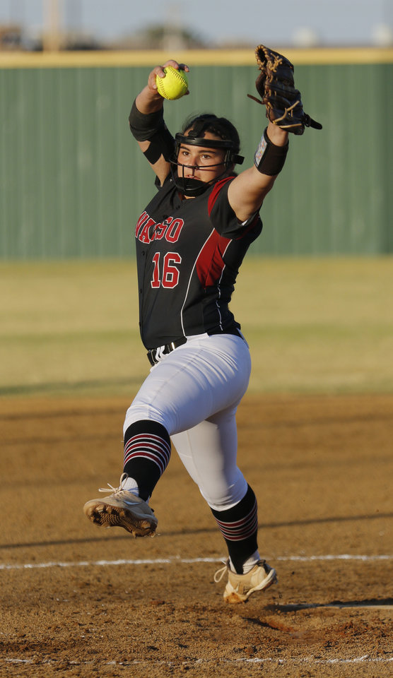 Photo - OHS #16 Lily Shaw pitcher during the 6A Fast Pitch Championship game between Edmond Memorial and Owasso at the Ball Fields at Firelake in Shawnee, Saturday, October 19, 2019. [Doug Hoke/The Oklahoman]