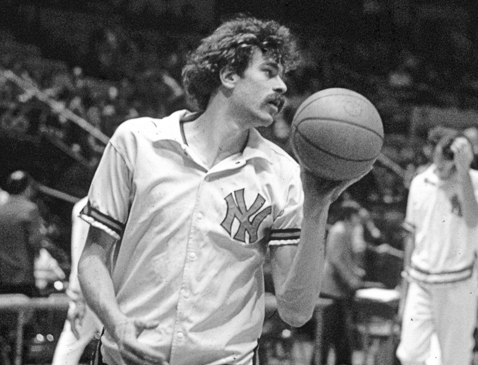 Photo - FILE - In this undated file photo, New York Knicks' Phil Jackson warms up for an NBA basketball game. Jackson will be introduced as the newest member of the New York Knicks' front office Tuesday morning, according to a person familiar with the negotiations between the 11-time champion coach and the team.  The person spoke on condition of anonymity on Friday, March 14, 2014, because the Knicks would only confirm that a