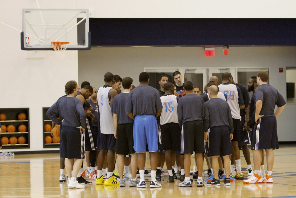 Photo - The Thunder wrap up a practice at the Thunder Practice Facility, Wednesday, Dec. 14, 2011. Photo by Doug Hoke, The Oklahoman