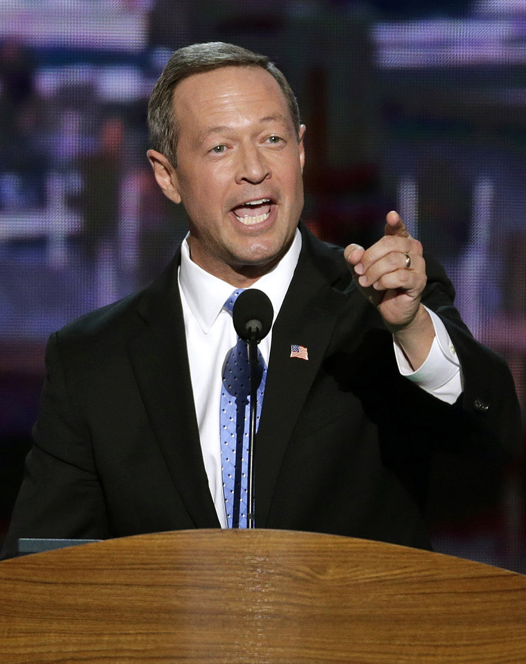 Photo - Maryland Gov. Martin O'Malley addresses the Democratic National Convention in Charlotte, N.C., on Tuesday, Sept. 4, 2012. (AP Photo/J. Scott Applewhite)